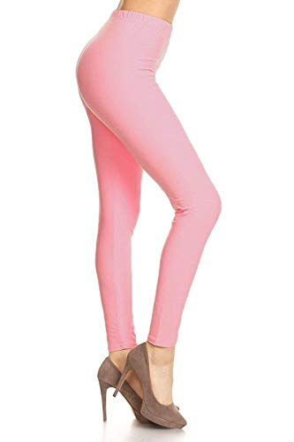 LDR128-Pink Basic Solid Leggings, One Size -