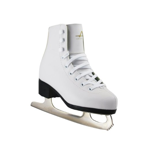American Athletic Shoe Girl's Tricot Lined Ice Skates, White, 4 -