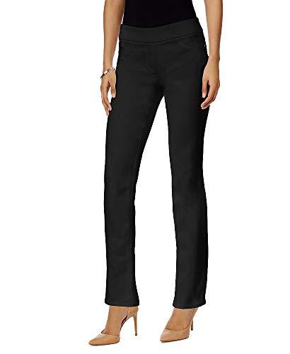 JM Collection Petite Pull-On Straight-Leg Pants (Deep Black, 2P)