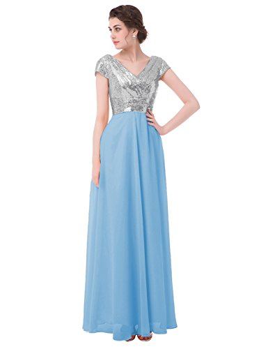 Buy light blue and silver bridesmaid dresses - 2