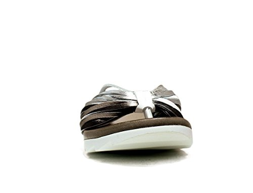 BUENO SHOES E615 A424 ZAPATOS las chancletas de sandalias de cuña, CUÑA reducido, la nueva colección primavera-verano 2016 de plata blanco CUERO