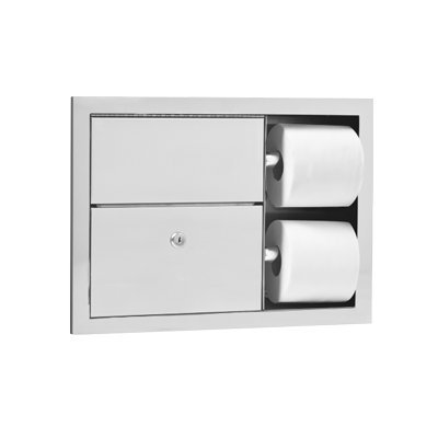 Recessed Sanitary Napkin Disposal (AJW U862 Dual Toilet Tissue Dispenser & Sanitary Napkin Disposal)