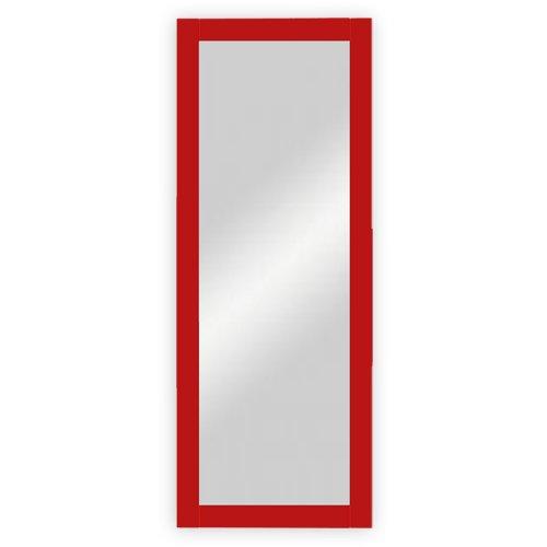 DreiBaum Wand-   Garderobenspiegel mit Holzrahmen, rot lackiert - ca. 45 x 170 cm