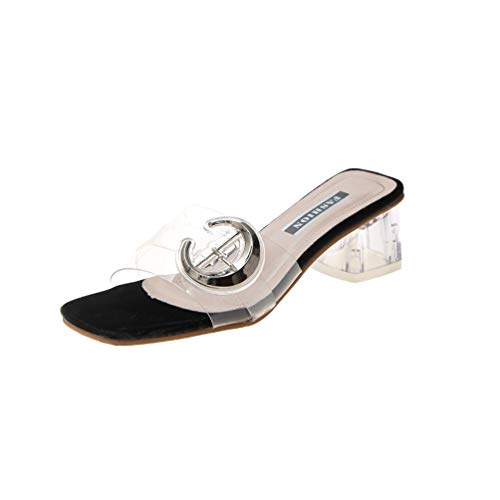 JEFCY Women Fashion Thick Chunky Heels Sandals Square Peep Toe Buckle Slip On Clear Beach Slides Pumps Black ()