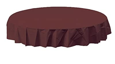Creative Converting Octy-Round Plastic Table Cover, 82-Inch, Chocolate Brown by Creative Converting