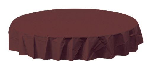 Creative Converting Octy-Round Plastic Table Cover, 82-Inch, Chocolate Brown ()