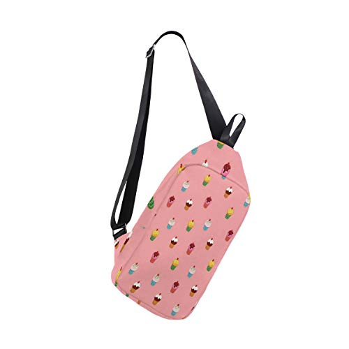 Sling Bag Cute Pink Cupcake Womens Chest Shoulder Backpacks Crossbody Unbalance Daypack