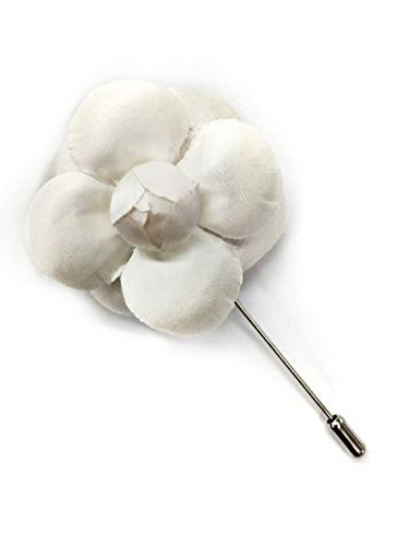 (Ivory Camellia Flower Lapel Boutonniere Pin - Men's Flower Lapel Pin - Silk Flower Artificial Flower with Stick Pin - Made in New York)