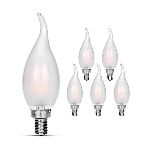 Candelabra LED Bulbs 40w Equivalent Improve Flame tip Frosted Glass E12 Base Warm White Decoration E12 LED Bulb Dimmable 6 pack - Bulb Led Frosted