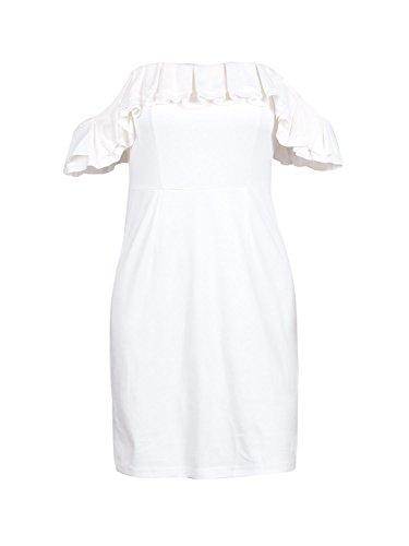 Faux Suède Épaule Au Large Des Femmes Simplee Vêtements Mini-robe Blanche Moulante Clubwear