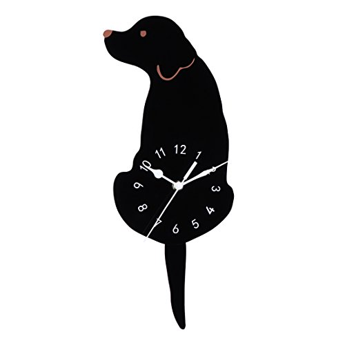 Wall Clock Silent, XSHION Non Ticking Decorative Modern Dog Clocks with Wagging Tail Battery Operated Wall Clocks for Kids Room/ Living Room/ Hotel -