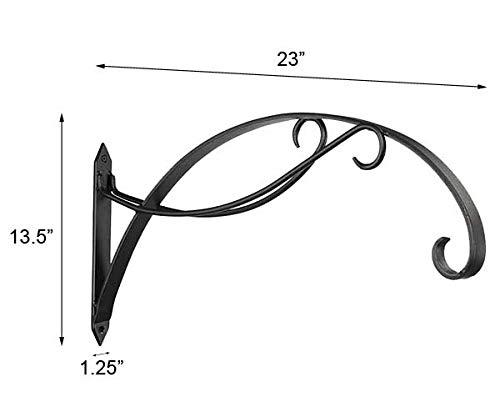 Set of 2 Achla Designs Wrought Iron Scroll Brackets, Black