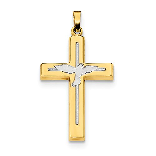 14k Yellow Gold Cross Religious Dove Pendant Charm Necklace Fine Jewelry Gifts For Women For Her