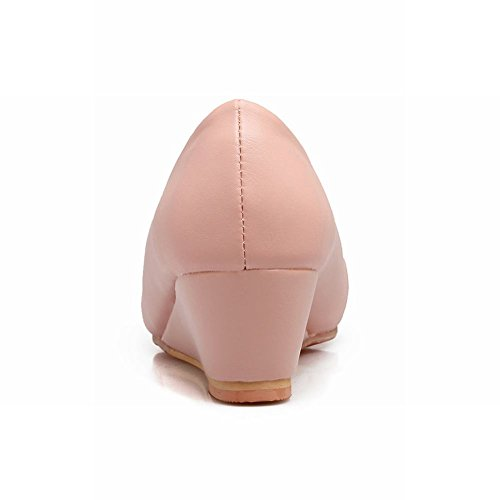 Mee Shoes Damen süß Keilabsatz runde Schleife Pumps Pink