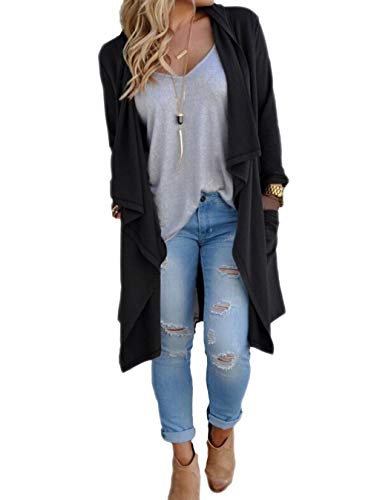 Women's Solid Lightweight Knitted Open Front Long Trench Coat Cardigan Black L