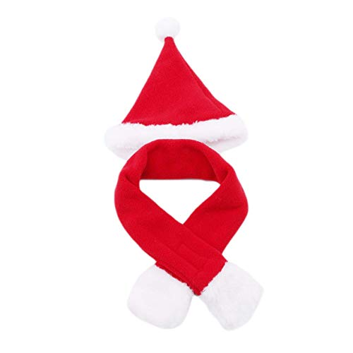 Xeminor Christmas Ornaments Cute Dogs Red Hat Scarf Santa Claus Suit Set Cat Clothing AccessoriesL ()