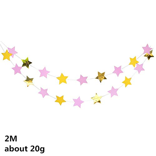 4m Long Paper Star Banner Garlands For Wedding Birthday Home Party Favor Deco Supplies Star String Chain Handmade Kids Room Deco,PINK ()