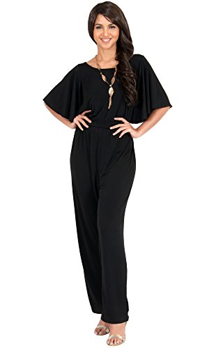 KOH KOH Women Short Sleeve Wide Leg Long Casual Cocktail Pants One Piece Jumpsuit Jumpsuits Pant Suit Suits Romper Rompers Playsuit Playsuits, Black L 12-14 (2)