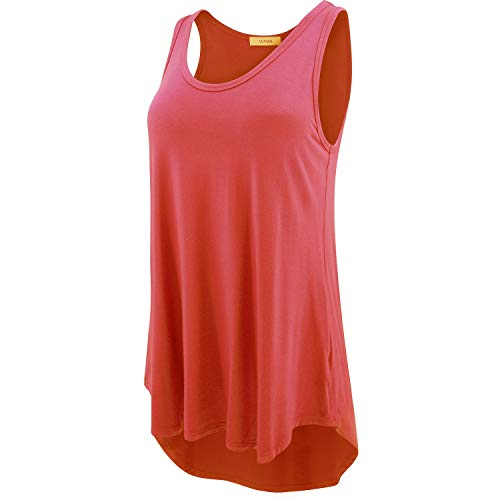 LUVAGE Women's High Low Tank Tops Shirts, Coral, Large