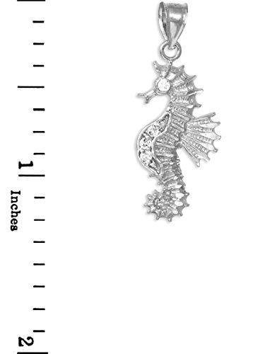 10 ct 471/1000 Or Blanc Oxyde de Zirconium Hippocampe Charme Pendentif