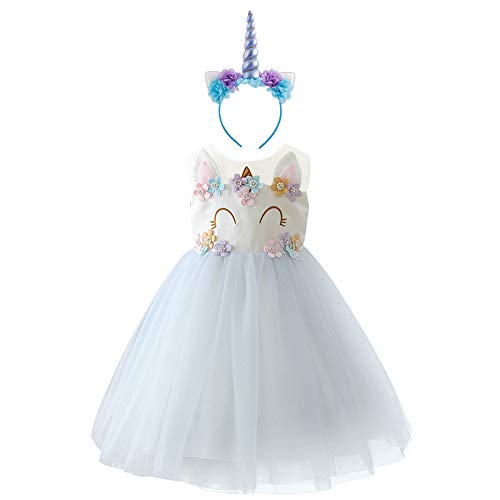 Baby Girl Unicorn Costume Pageant Flower Princess Party Dress with Headband D-2PCS Smile Unicorn Light Purple Outfits 10-11 Years]()