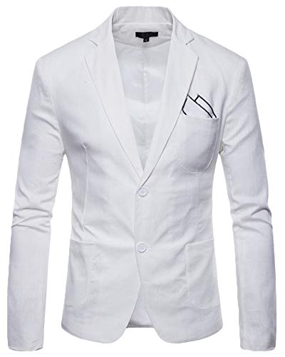Bouton Business Blazer Costume Elegant Anyua Homme Casual Un Blanc Fit Slim wB4c8aHOq
