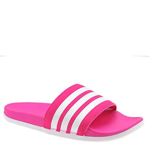 adidas Women's Adilette Cloudfoam+ Slide Sandal, White/Shock Pink, 6 M US
