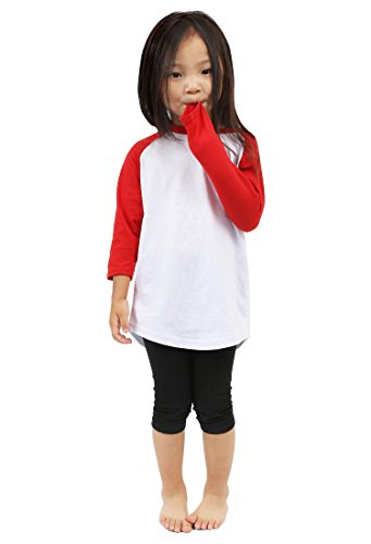 Hat and Beyond Kids Raglan 3/4 Sleeves Baseball T Shirts Baby 5KSA0001 (XS (3-4 Yrs 4T), 5ks01_White/Red) ()