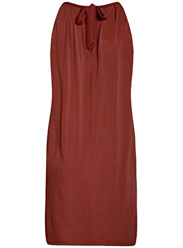 oodji Collection Mujer Vestido Recto con Lazos en Espalda Rojo (3100N)