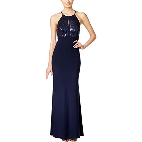 Xscape Womens Sequined Keyhole Evening Dress Navy 4