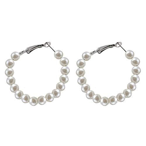 - Pearl Earrings Fake Faux Pearl Hoops Dangle Earrings Drop Geometric Stud Earrings Women Girls Fashion Piercing Minimalist Wedding Bridal Tribal White Dangling Handmade Charms Jewelry Medium