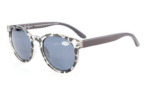 Eyekepper Wood Arms Spring Hinges Polycarbonate Polarized Bifocal Sunglasses Round Sunreaders Grey Tortoise - Sunreader