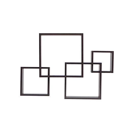 Danya B. BR1023ES Decorative Wall Mount Floating Intersecting Cube Accent Wall Shelf - Espresso (Modern Ideas Shelves Floating Decorating)