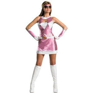 Disguise Unisex Adult Sassy Deluxe Power Ranger, Pink/White, Large (12-14) Costume ()