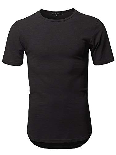 Basic T Shirt Casual Vintage Scoop Bottom Tee Black L