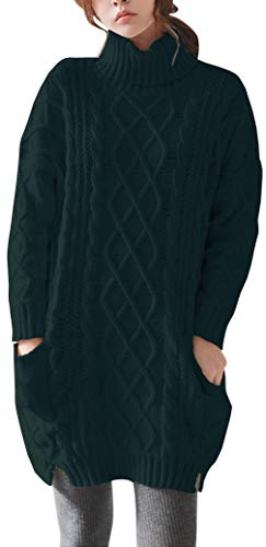 - Liny Xin Women's Cashmere Knitted Turtleneck Long Sleeve Winter Wool Pullover Long Sweater Dresses Tops (XL, Green)