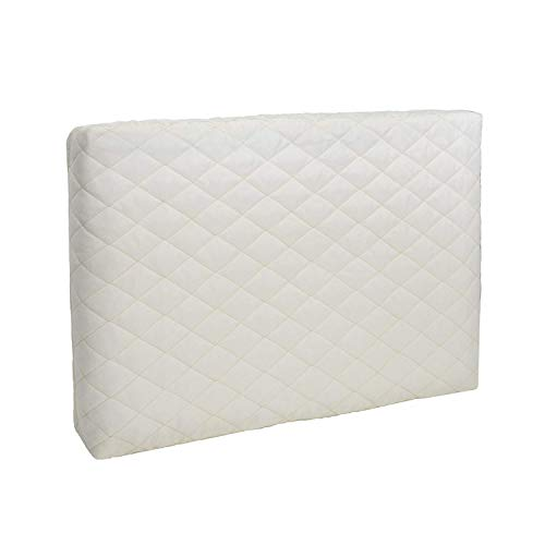 Indoor Winter Air Conditioner Cover, Quilted Double Insulation Window Wall AC Units Cover for Blocking Cold Air Out and Eliminating Dust Buildup, Creamy White Cover (Medium, 21x14x2.5)