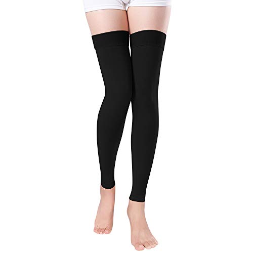 Footless Compression Stockings Women Men, Thigh-High Firm Support 20-30 mmHg Graduated Compression Socks - Moderate Medical Support Hose Swelling Varicose Veins Edema (Black, ()