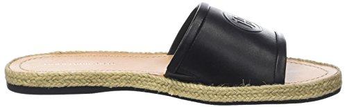 Tommy Hilfiger Leather Flat Mule, Sandalias con Punta Abierta Para Mujer Negro (Black 990)