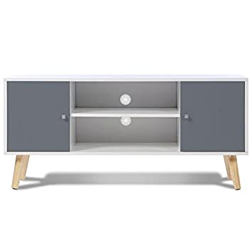 Idmarket Meuble Tv Effie Scandinave Bois Blanc Et Gris Amazon Fr