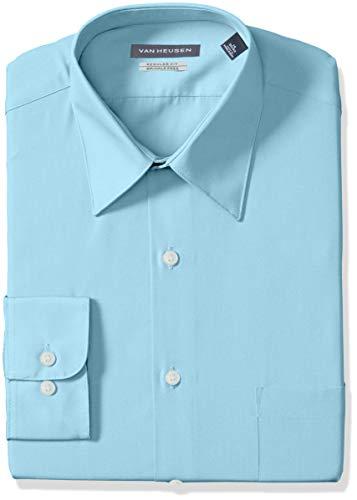Van Heusen Men's Poplin Regular Fit Solid Point Collar Dress Shirt, Mist, 14.5