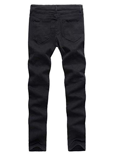 Vintage Color Distrutto Slim Solid Look Nero Pantaloni Casual Pants Semplice Denim Da Stretch Uomo Jeans Regular Fashion Stile Fit YxSZw7q
