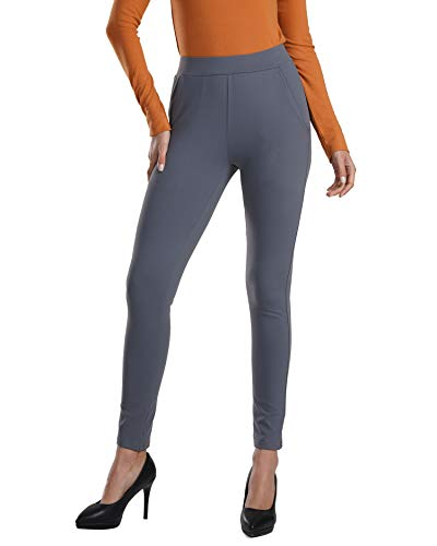 Bamans Women's Skinny Leg Work Pull on Slim Stretch Yoga Dress Pants w/Tummy Control, Grey M