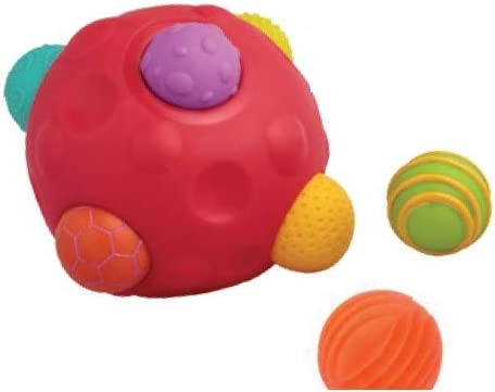 Playlearn Tactile Textured Sensory Ball with 6 Removable Small Balls - Sensory Toy for Toddlers - Fine Motor Toy for All Ages