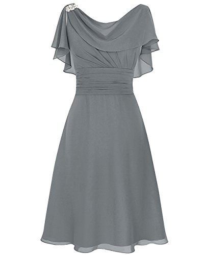 Judy Ellen Women A Line Knee Length Bridesmaid Dress Party Gown J086LF Dark Gray US12