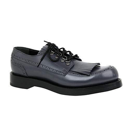 Gucci Fringed Brogue Bluish Gray Leather Lace-up Shoes 358271 1107 (8 G / 9 US)
