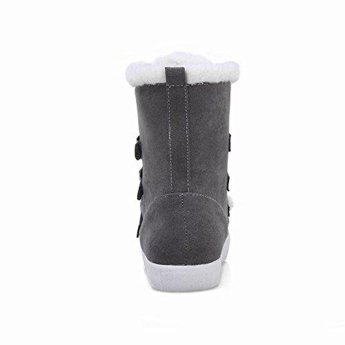 Latasa Womens In Finta Pelle Scamosciata Fibbia E Cinturino Flat Snow Boots Invernali Grigi
