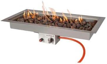 Easyfires - Quemador de Gas Rectangular de 78 x 38 cm para Mesa de Fuego, brasero, fogón de Gas, Acero Inoxidable, Accesorio para Chimenea de Mesa
