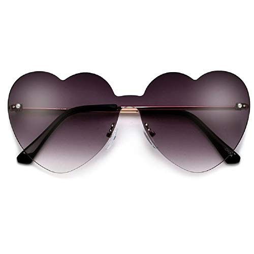Adorable Sleek Heart Shaped Rimless Luxury Women Sunglasses Black Gradiant Oversized Lenses with Microfiber Bag (Black Gradient)
