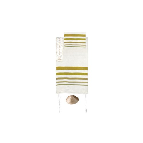 Yair Emanuel Hand Woven Raw Silk Tallit with Gold Stripes...